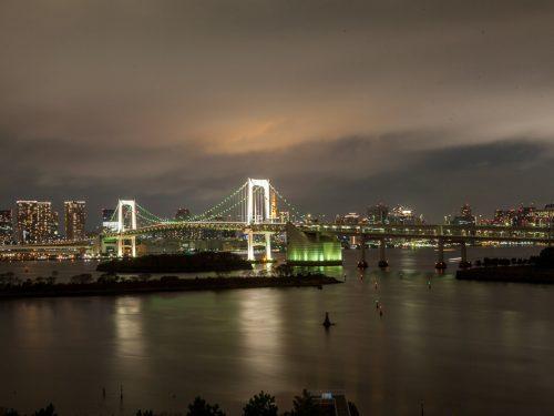 Odaiba l'isola artificiale situata difronte la baia di Tokyo da dove si può fotografare lo skyline della metropoli in tutta la sua bellezza.